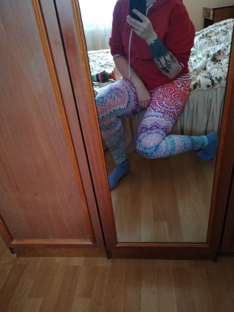 Zohra Brands Women Fashion Legging Aztec Round Ombre Printing leggins Slim High Waist  Leggings Woman Pants