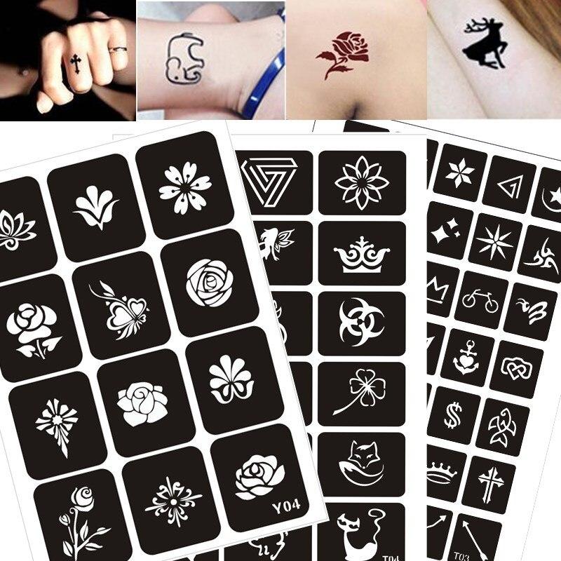 200 Patterns Airbrush Glitter Tattoo Stencils Printer Painting Drawing Henna Template Cat Flower Letter Sexy Women Body Hand Art