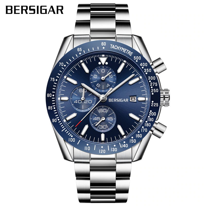 BERSIGAR Men's Watch Stainless Steel Men's Quartz Clock Sports Fashion Business Waterproof Chronograph Relogio Masculino