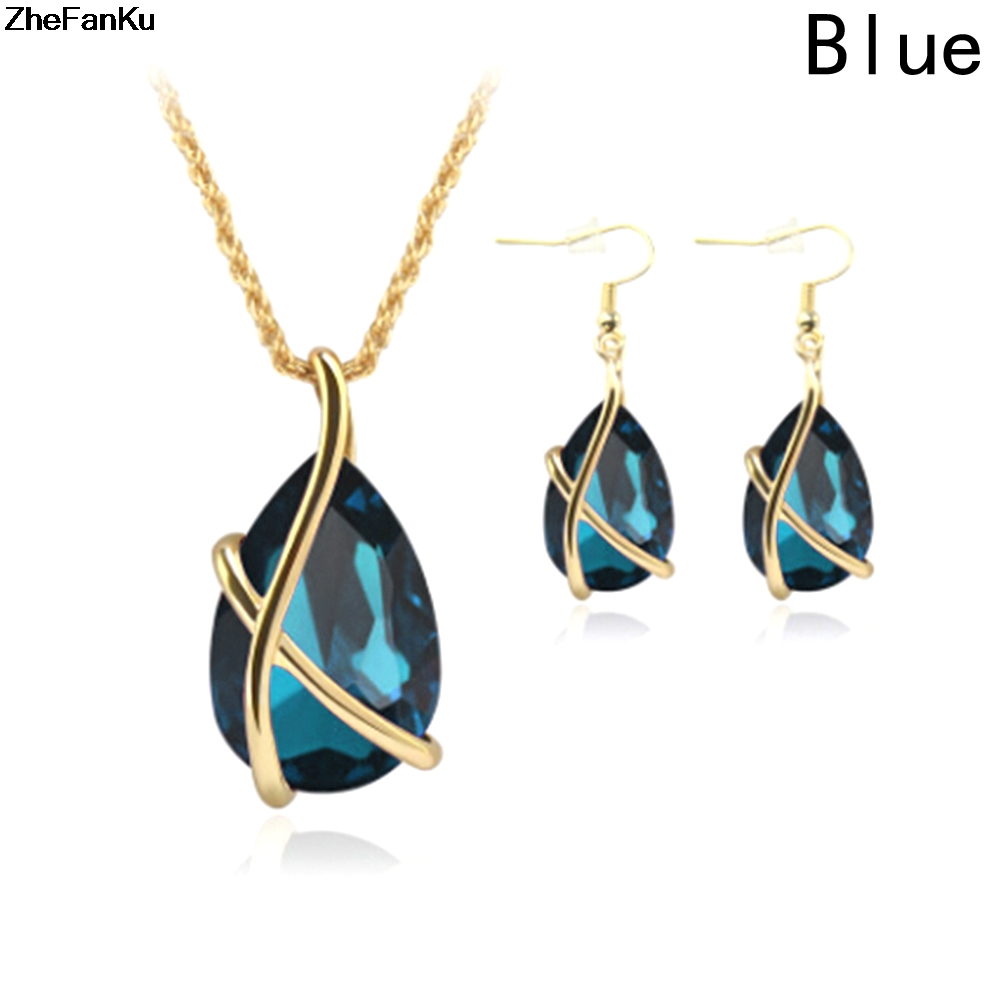 Luxury Wedding Jewelry Sets Gold Chain Colorful Crystal Water Drop Necklaces & Pendants and Dangle Earrings Schmuck Accesories