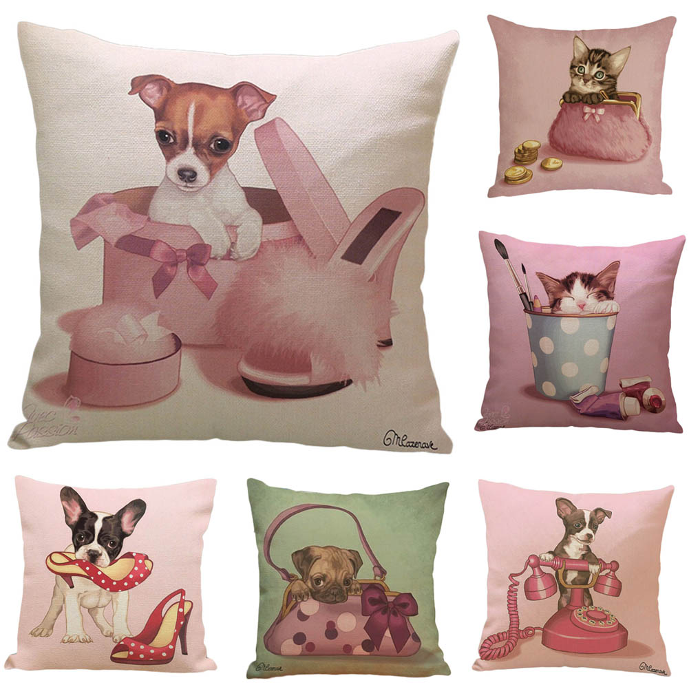 1Pcs! Cushion Cover Animal French Bulldog Pug Dog Pillowcase Woven Cotton Linen Car Pillow Covers Decorative Home Decor