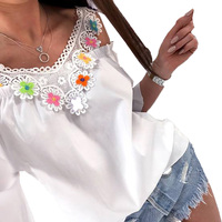 2017 Fashion Women V Neck 3/4 Sleeve Off Shoulder Lace Crochet Summer Flower T-Shirt Casual Patchwork Party Tops Shirt Blusas