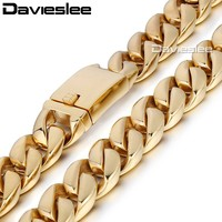 17mm Heavy Black Gold Tone Curb Link 316L Stainless Steel Necklace Fashion Boys Mens Chain Wholesale