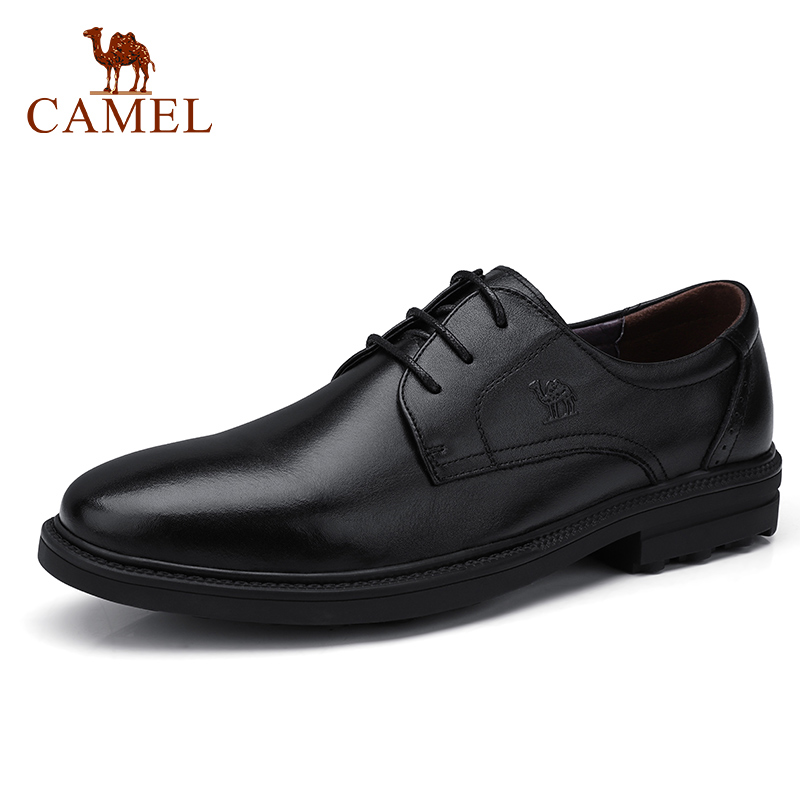 CAMEL Men s Business Dress Shoes Genuine Leather Office Party Wedding shoes men Soft oil wax