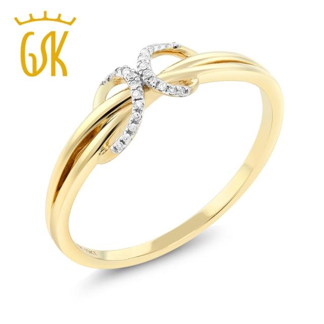 GemStoneKing Solid 10K Yellow Gold Natural White Diamond Anniversary Wedding Band For Women