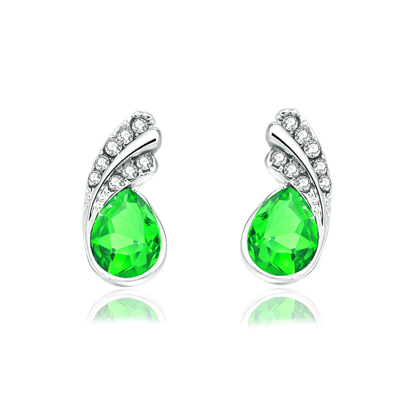 Crystal leaf stud Earrings 6