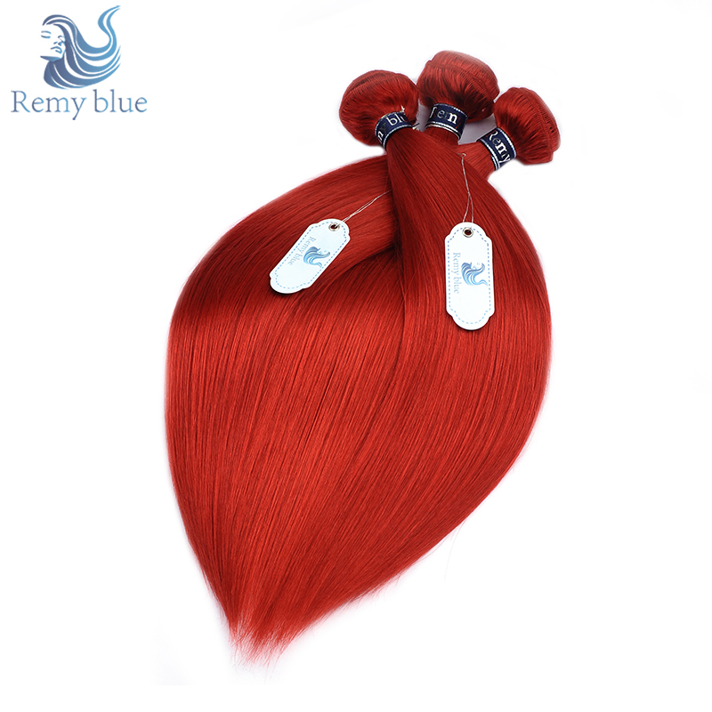Remy Blue Lucky Red 3 Bundles Deals Raw Indian Hair Human Straight Hair Weave Bundles Burgundy Remy Hair Thick Weft Can Be Dyed
