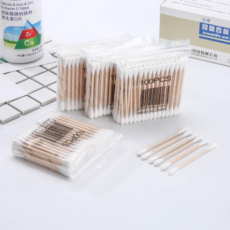 100Pcs/Packs Women Beauty Makeup 100% Cotton Swab Cotton Buds Make Up Double-head Wood Sticks Ears Cleaning Cosmetics Health