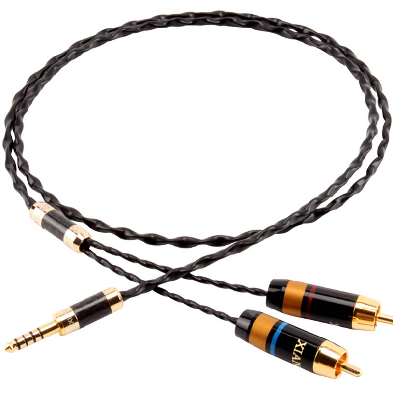 XIANZUN 4.4mm balanced one into two audio cable 2.5mm turn double lotus 1 to 2RCA audio amplifier audio cable цена