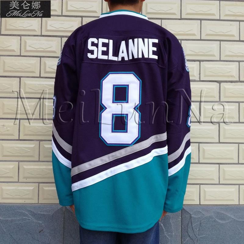 online store d3d09 a5e51 MeiLunNa Mighty Ducks Movie Ice Hockey Jerseys #8 Teemu Selanne 0802 White  Purple Blue