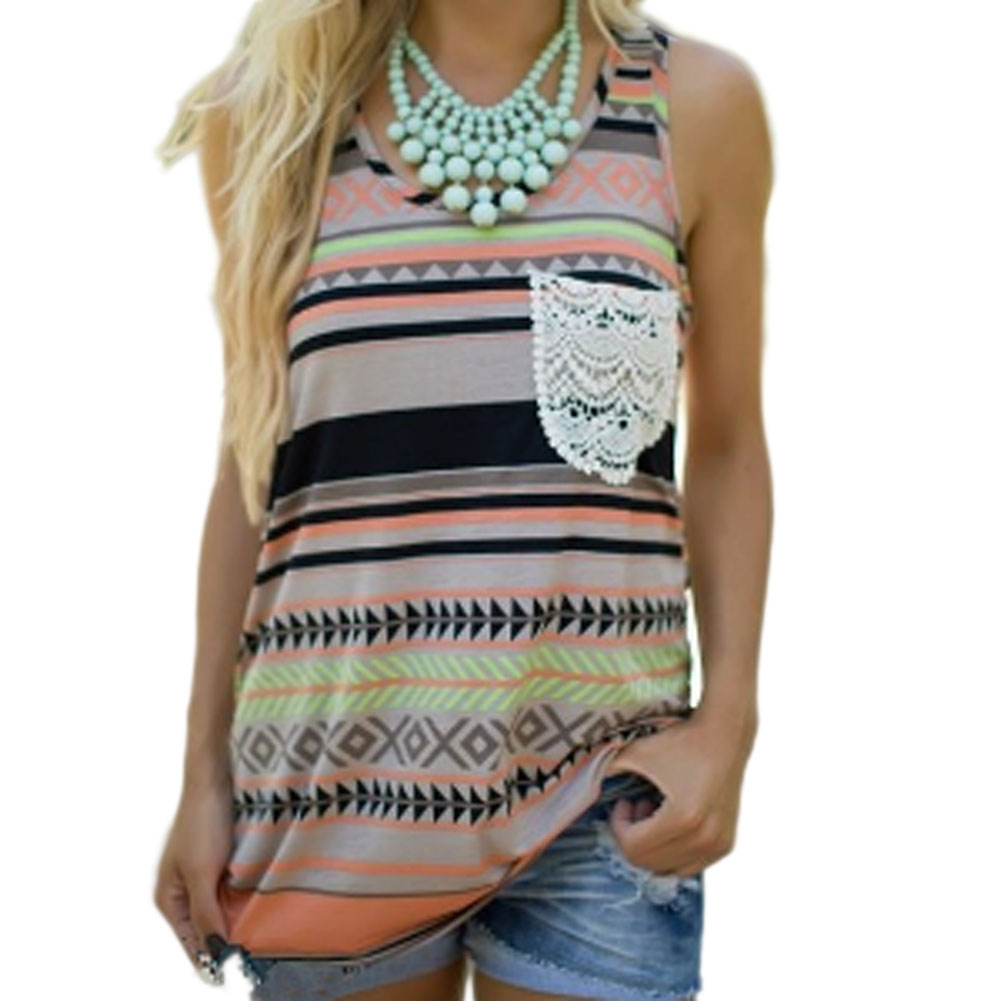 Vintage Boho Tribal Print Tank Top Hollow Lace Pocket Colorful Strips Geometry Print Women casual Vest Top