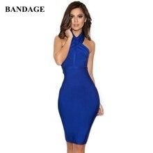 Mini Dresses Blue Bodycon HALTER White Off-Shoulder High-Quality Celebrity Vestidos Sexy
