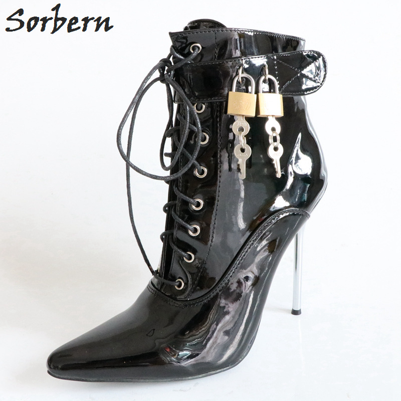 Sorbern 12Cm Metal Stilettos Women Boots Ankle Patent Leather High Heels Autumn Fetish Heels Women Heeled Booties With Lock Keys faux soft leather mesh fabric women boots see through high heels stilettos ankle high fall style women booties heel ankle boots