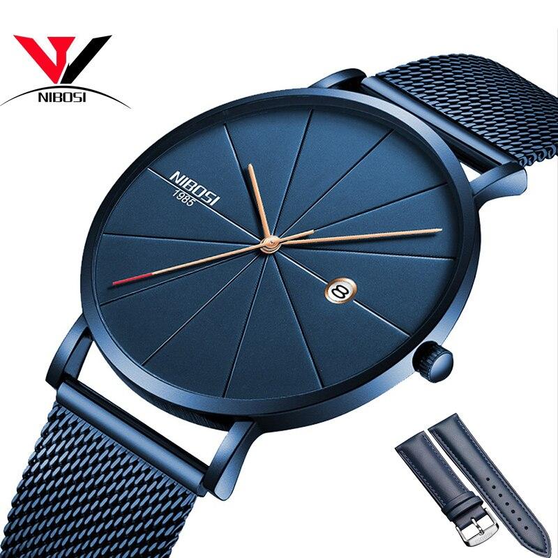 Reloj NIBOSI Para mujeres y hombres reloj de marca de lujo famoso vestido Relojes de moda Unisex ultrafino reloj de pulsera Relojes Para Hombre