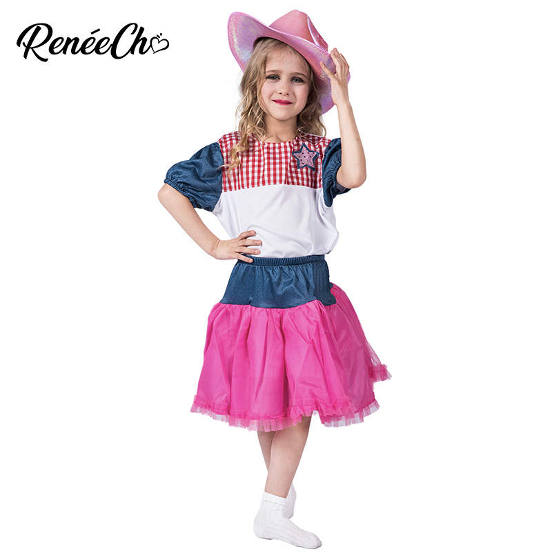Girls halloween costume Child Cowgirl Sweetie Costume girl dress with hat set holiday carnival party cosplay costume 3-10 Years
