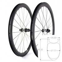 45MM Height 26MM Width 700C Disc Brake Carbon Road Bike Wheels For Road 700C road 35mm clincher disc wheelset