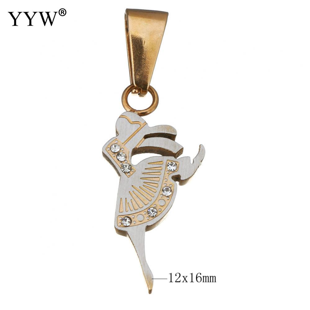YYW Fashion Women's Pendant Silver Gold Dancing Girl With Crystal Stainless Steel Pendant Necklace Jewelry Girl For Women 2017