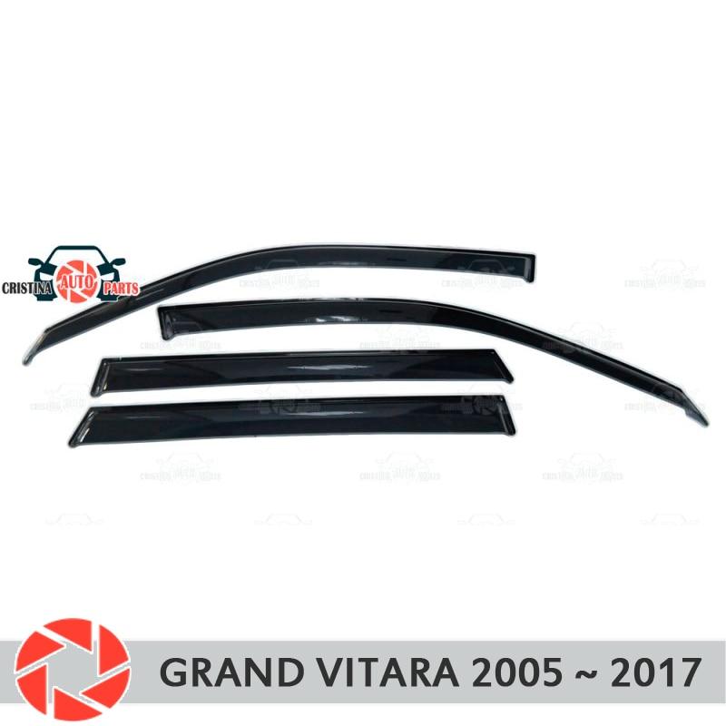 Finestra deflettore per Suzuki Grand Vitara 2005-2017 accessori della decorazione stile auto protezione di pioggia deflettore sporcizia stampaggio