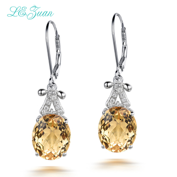 I&zuan 4.75ct Natural Citrine Drop Earrings Real 925 Sterling Silver Fine Jewelry Trendiest Earrings For Women Aretes E0070-W05