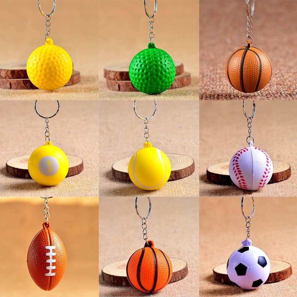 Cheap!! Football Basketball Baseball Table Tennis PU Keychain Toys, Fashion Sports Item Key Chains Jewelry Gift For Boys & Girls