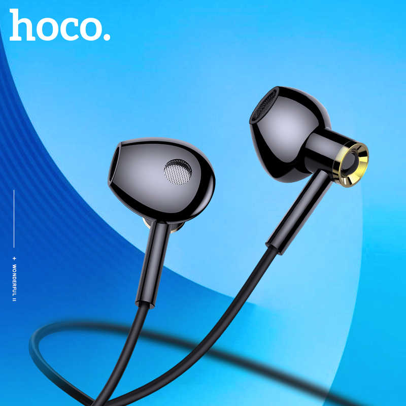 HOCO Fashion Tinggi Kualitas HD Super Bass Stereo In-Ear Wired Earphone 3.5 Mm Kabel Headset dengan MIC untuk iPhone XS Xiaomi