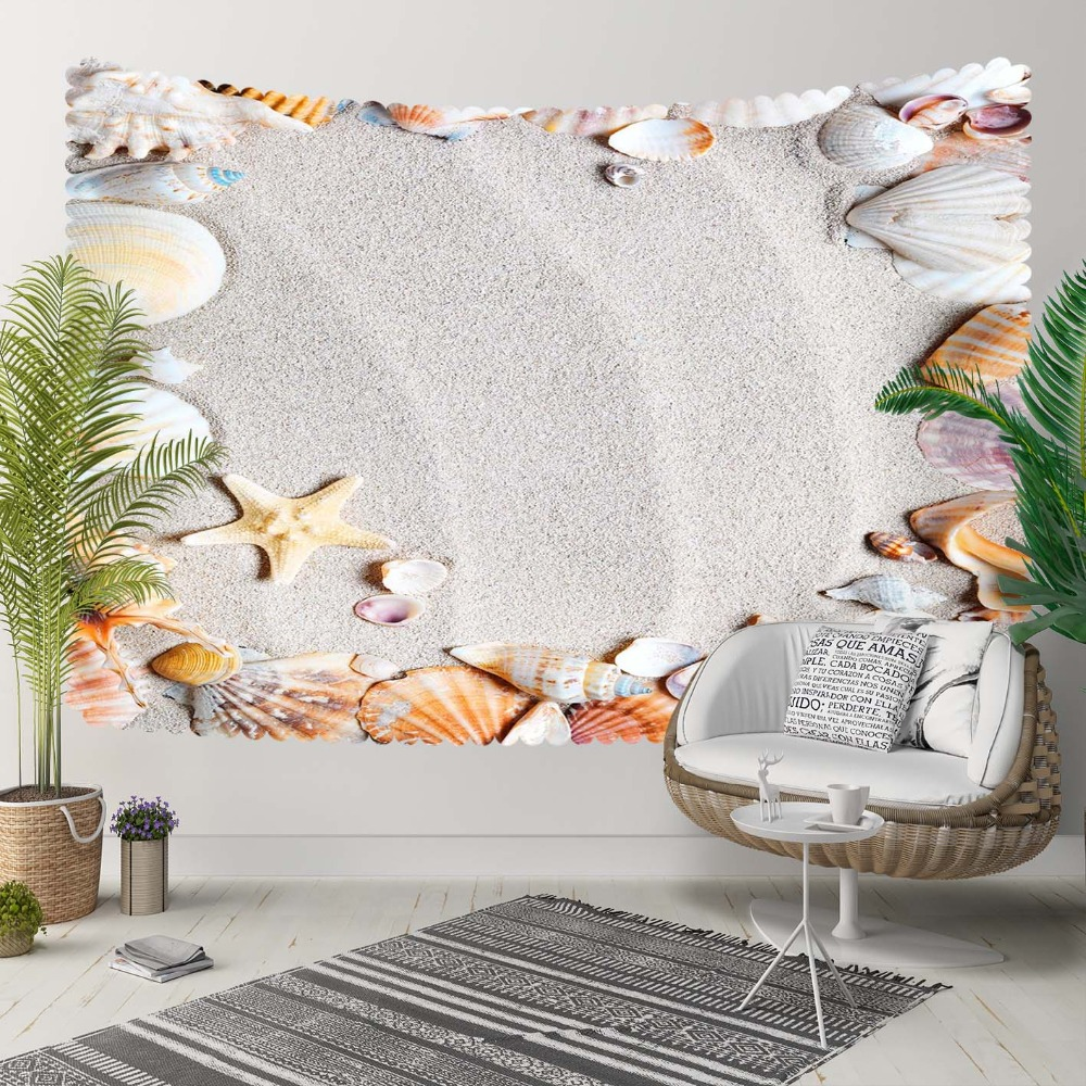 Else Tropical Beach Sand Brown Sea Shell Yellow Star 3D Print Decorative Hippi Bohemian Wall Hanging Landscape Tapestry Wall Art