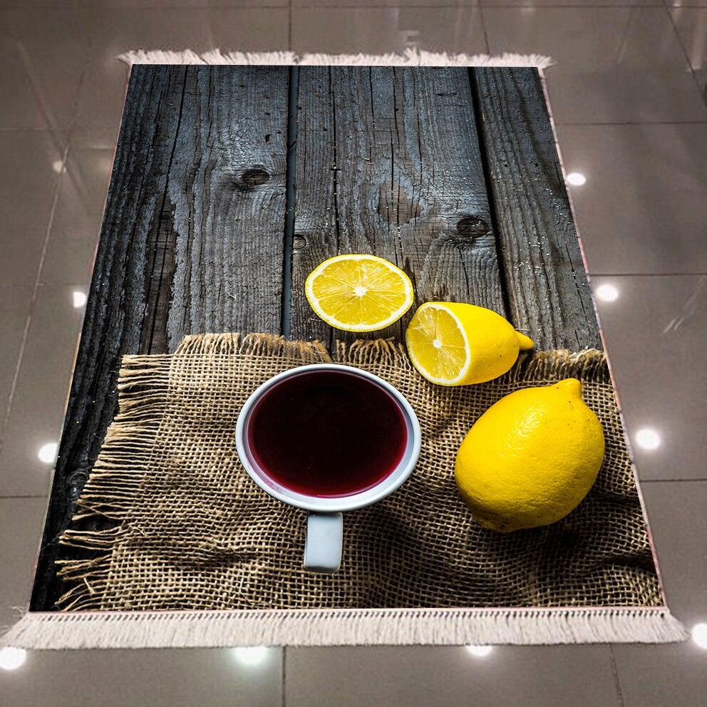 Autre gris bois Table thé tasses jaune citrons millésimes 3d microfibre Anti Slip retour lavable décoratif coin cuisine tapis