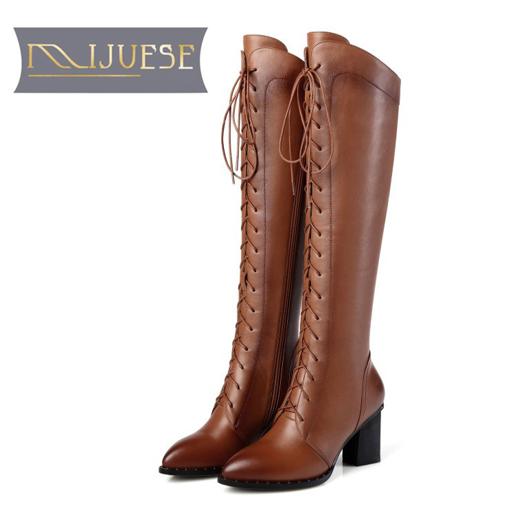 MLJUESE 2018 women knee high boots cow leather lace up winter warm fur short plush pointed