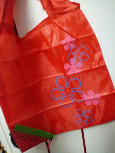 Floral Folding Reusable Grocery Nylon Bag Large Strawberry  Shopping Bag Cute Travel Tote photo review