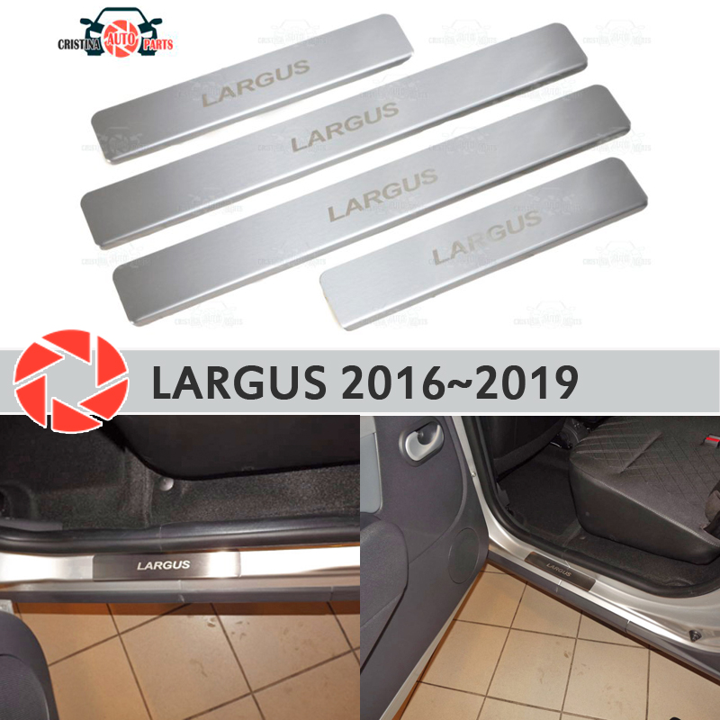 Door sills for Lada Largus 2012~2019 step plate inner trim accessories protection scuff car styling decoration laser letters 2x led car door welcome light laser car door shadow led projector logo batman wireless universal car welcome door car styling