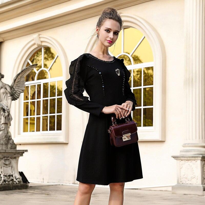 European Style Black Long Sleeve Ruffles Women Elegant Dress Runway 2018 High Quality 5XL Plus Size Sequined Ladies Dresses