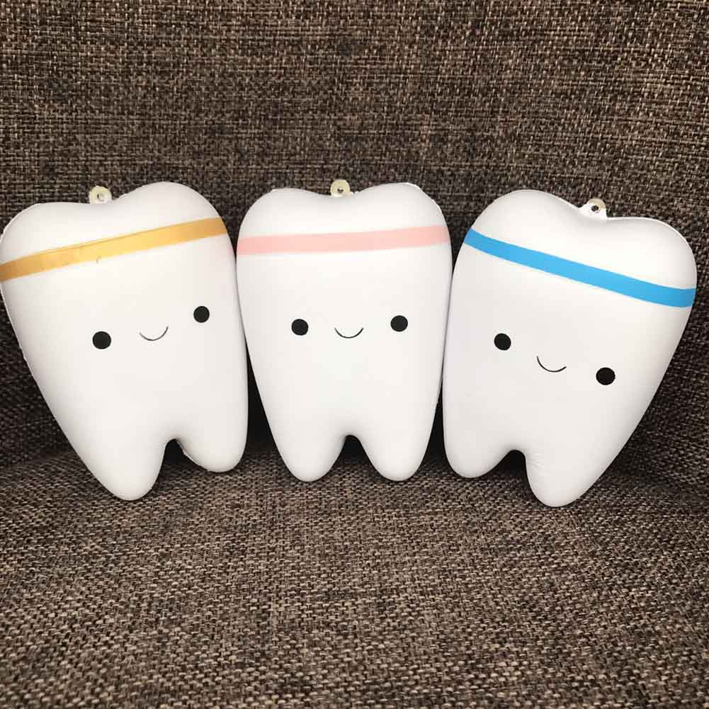 Slow Rebound Toy Anti Stress Toy Joke Slow Rising Kawaii Teeth Soft Squeeze Teeth And Jokes Stretchy Toy Gift