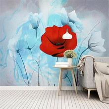 Customized modern minimalist hand-painted small fresh garden flowers Nordic wall manufacturers wholesale wallpaper murals custom