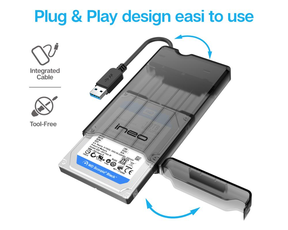 ineo HDD Case Tool Free External USB 3 0 to SATA 2 5 inch Hard Drive