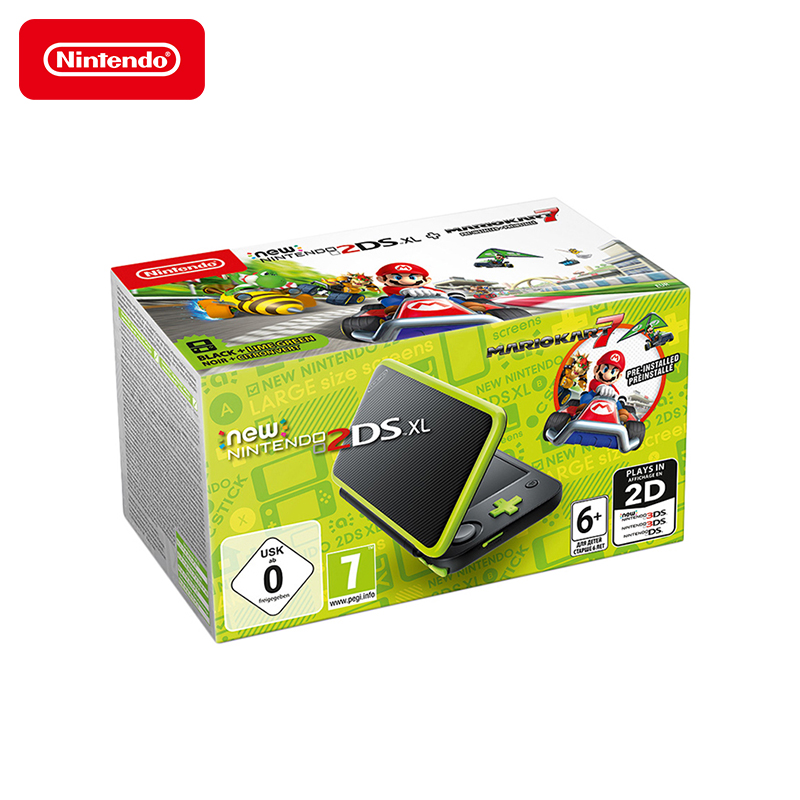Game console NEW Nintendo 2DS XL (black + lime) + Mario Kart 7 black new 7 85 inch regulus 2 itwgn785 tablet touch screen panel digitizer glass sensor replacement free shipping