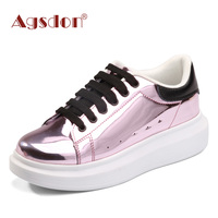 Agsdon 2017 Metallic Fashion Platform Casual Shoes Woman Lace Up Oxfords Spring Flats Fashion Solid Glitter