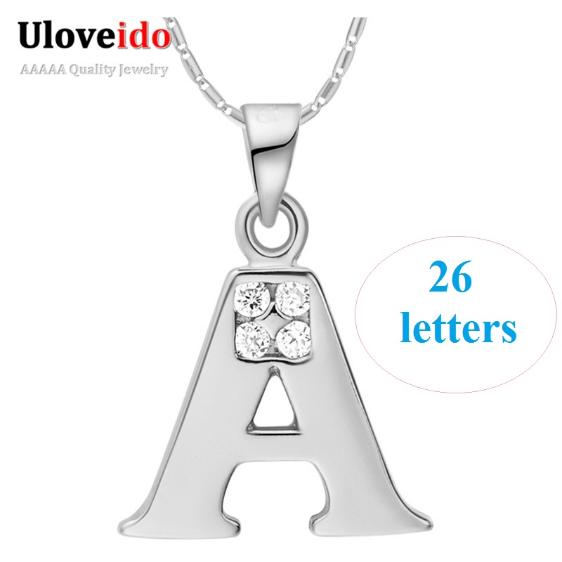 26 Letters Necklace A B C D E F G H I J K L M N O P Q I S T U V W X Y Z Necklaces for Men/Women Silver Color Uloveido N958 ...