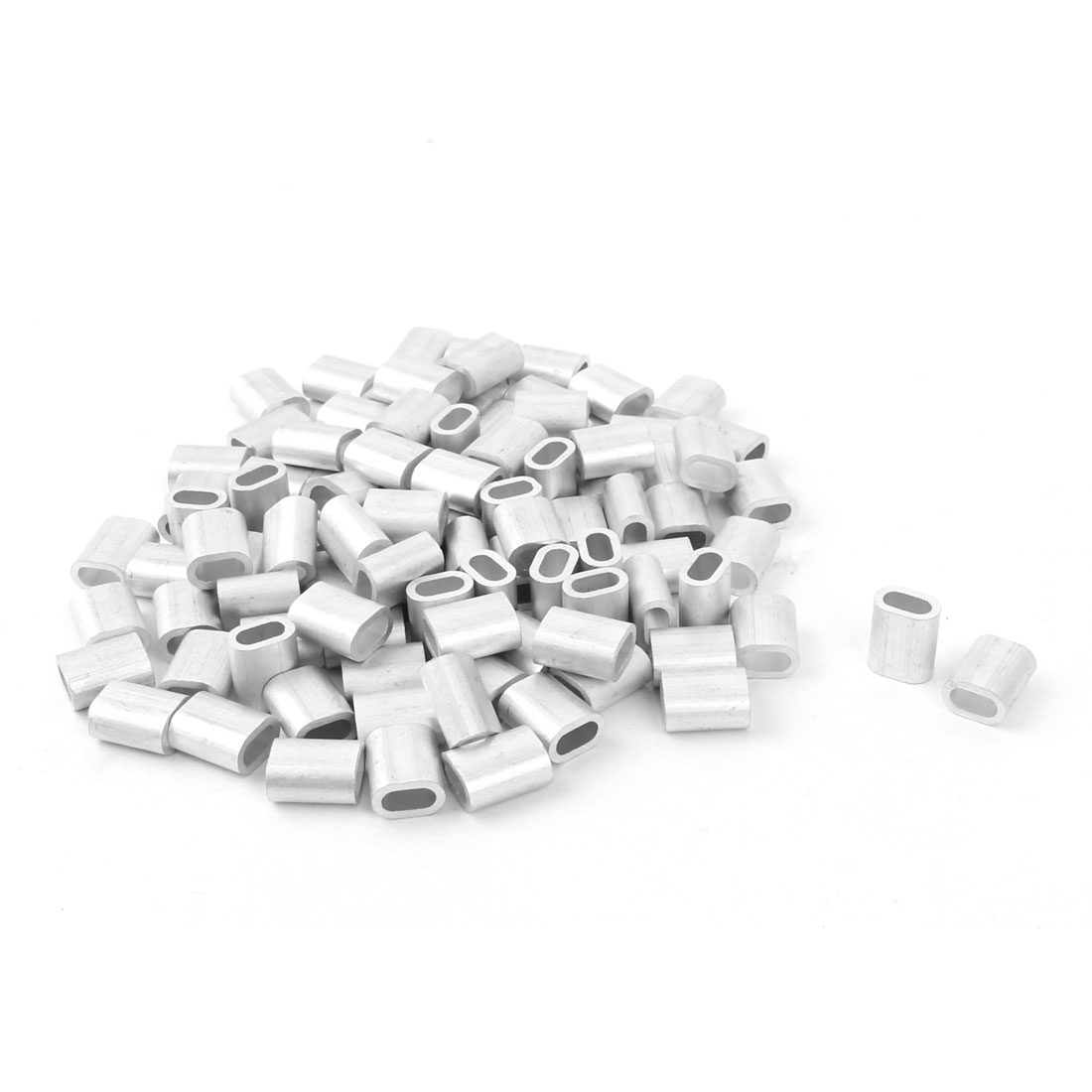 UXCELL 100Pcs 3mm Diameter Steel Wire Rope Aluminum Ferrules Sleeves Clip Fittings Cable Crimps