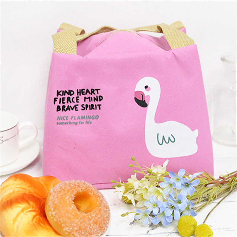 Waterproof Flamingo Thermal Insulation Bags Portable Lunch Bag Cooler Bag Travel Picnic Food Lunch Box Bag for Women Girls Kids