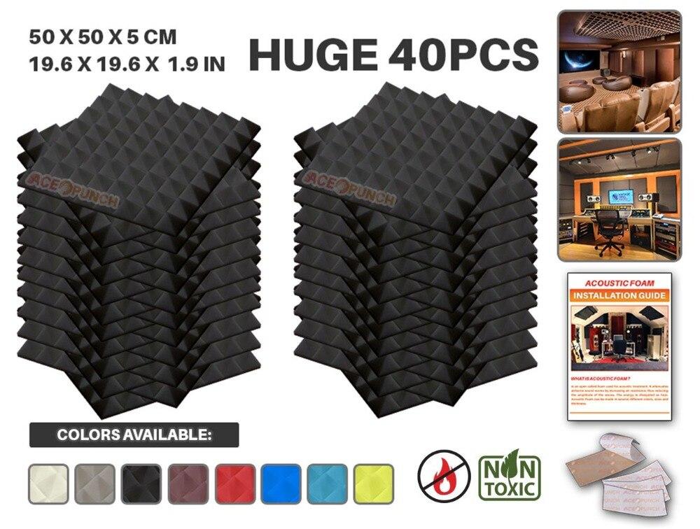 Arrowzoom 40 pièces Pack 19.6 x 19.6 x 1.9 pyramide tuile Studio panneau insonorisant traitement de mousse acoustique