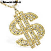 Davieslee Womens Mens Chain USA US Dollar Symbol Pendant Necklace Yellow Gold Color GP Iced Out