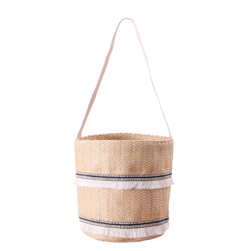 Women Tassel Straw Bags Summer Female Ins Popular Handbag Fashion Ladies Cylinder Shoulder Bag Lace Holiday Woven Tote Ss3163 Shoulder Bags Women's Bags
