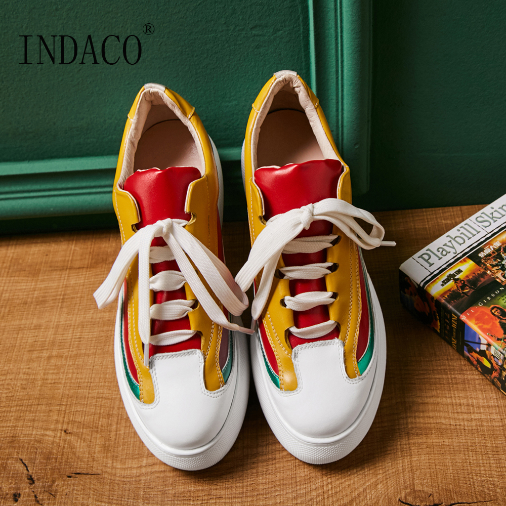 Zapatos casuales zapatos de plataforma de las mujeres zapatillas de deporte zapatos de cuero de las mujeres mocasines amarillo 6 cm 4