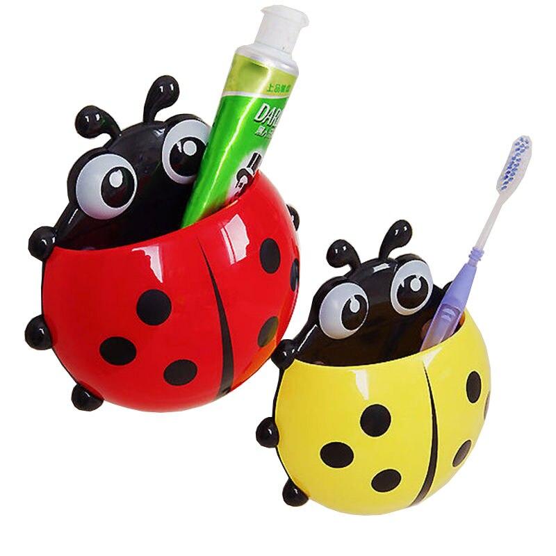 YIBO Cute ladybug strong sucker toothbrush holder bathroom cartoon toothbrush toothpaste storage rack sucker repeated use