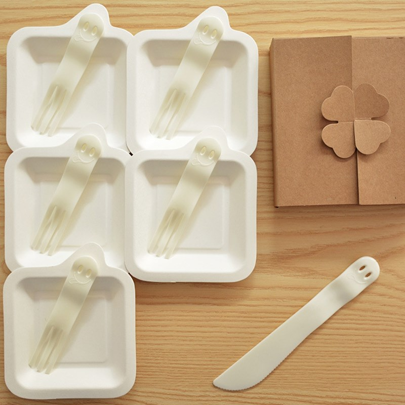 birthday party disposable tableware set plastic 5 forks 5 plates 1 cake knife with kraft box
