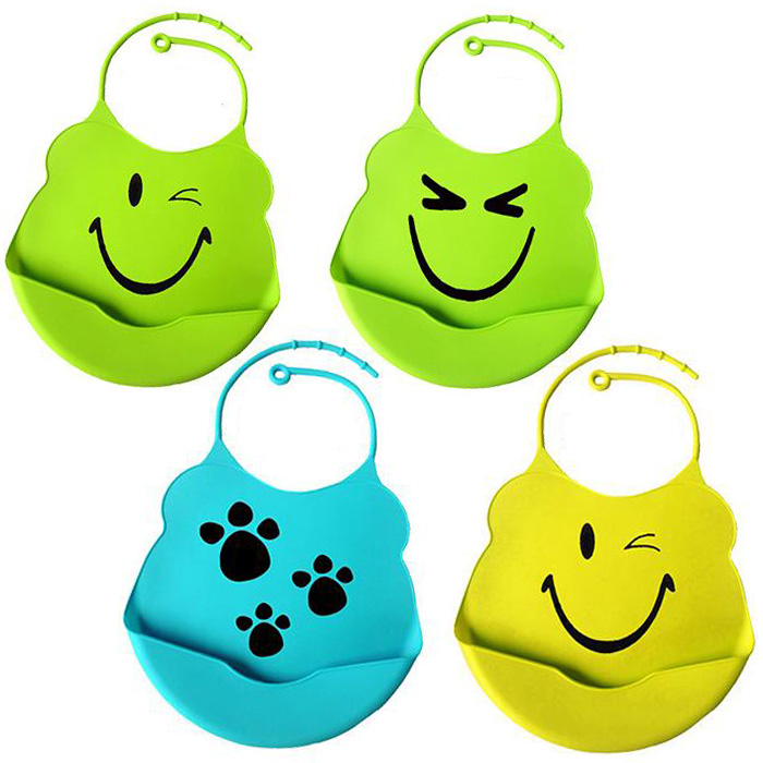 4pcs/lot Rainbow Color Waterproof Silicone Bib Easily Wipes Clean Comfortable Soft Baby Bibs