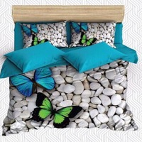 Else 6 Piece White Pebble Stones Blue Green Butterfly 3D Print Cotton Satin Double Duvet Cover Bedding Set Pillow Case Bed Sheet