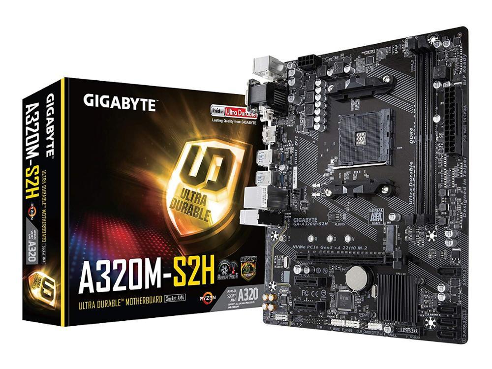 Gigabyte GA-A320M-S2H Original NEW Motherboard AMD Socket LGA 1151 DDR4 USB3.0 SATA3.0 VGA+DVI+HDMI