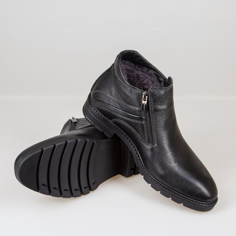 Кожаные мужские ботинки с отделкой из натурального меха