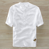 Flax Short Sleeve Shirt Young Male Summer Style Collar Chinese Men S Clothing Embroidery Plate Buckles